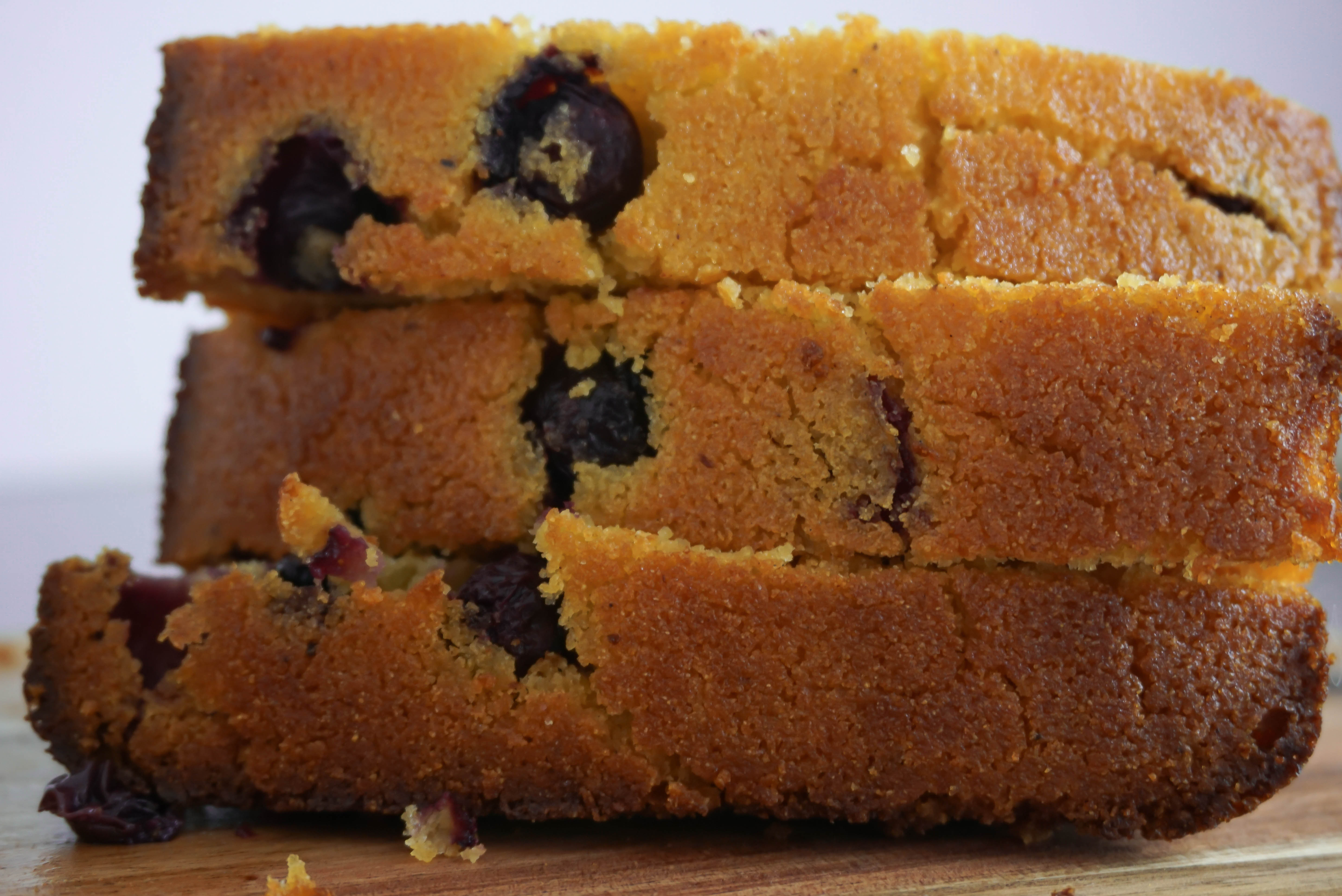 Three slices of lemon blueberry polenta bread