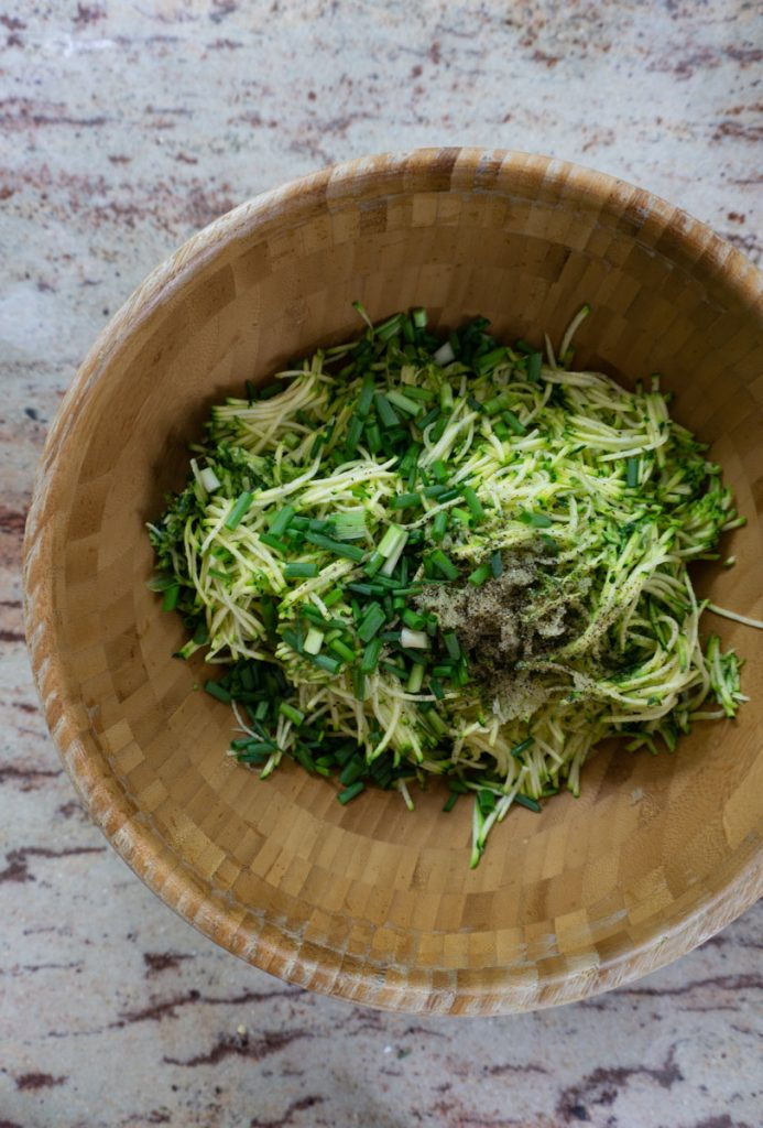 Courgette Fritters - adding ingredients