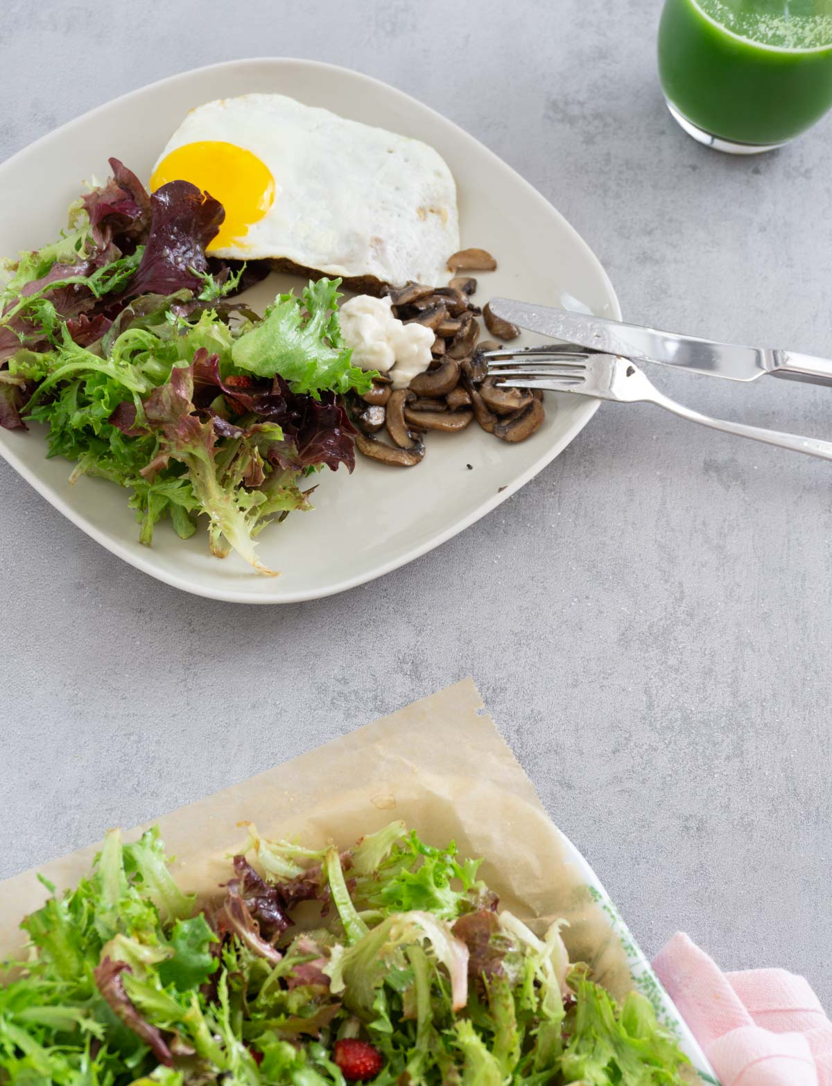 Breakfast brunch platter with mushrooms and garlic mayonnaise