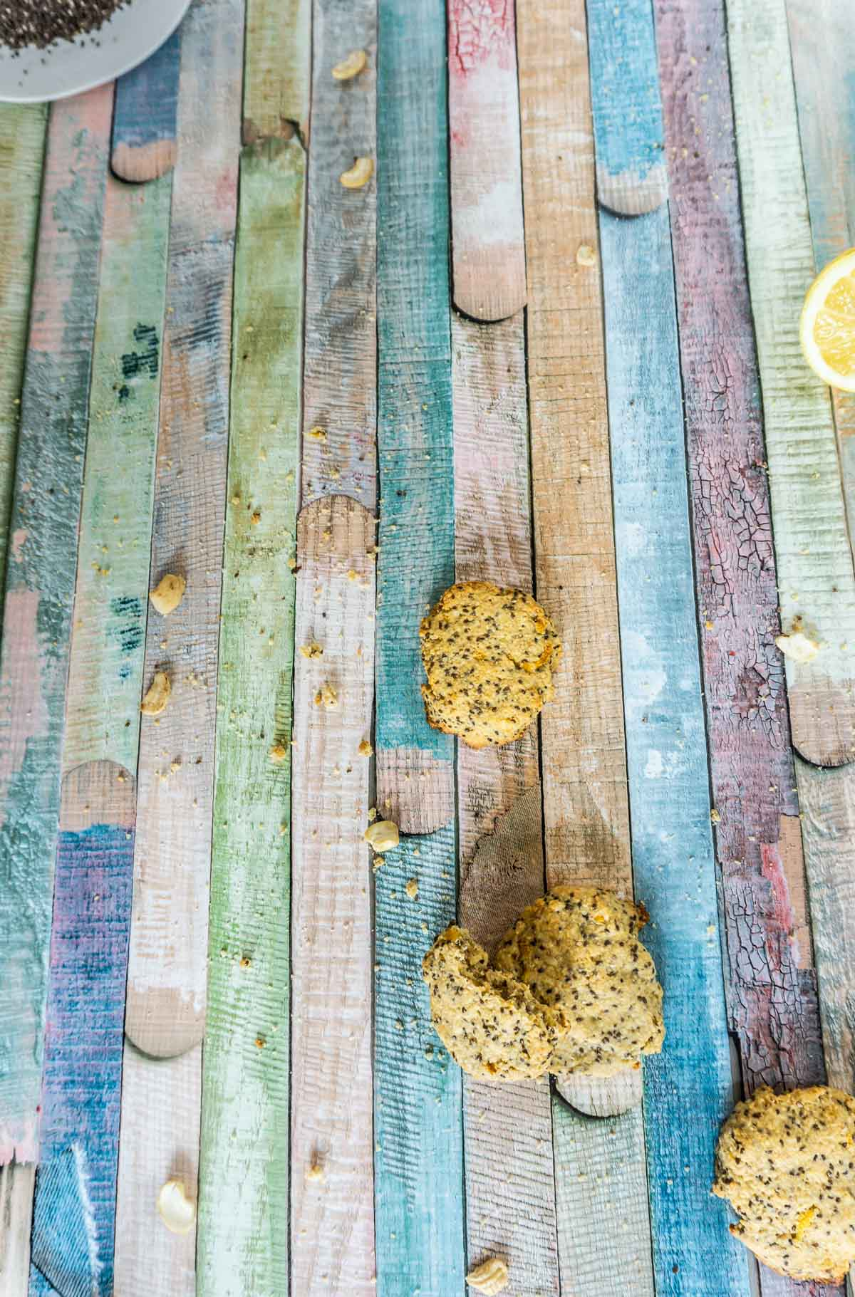 Close up picture of Lemon Chia Cookies on a colored surface