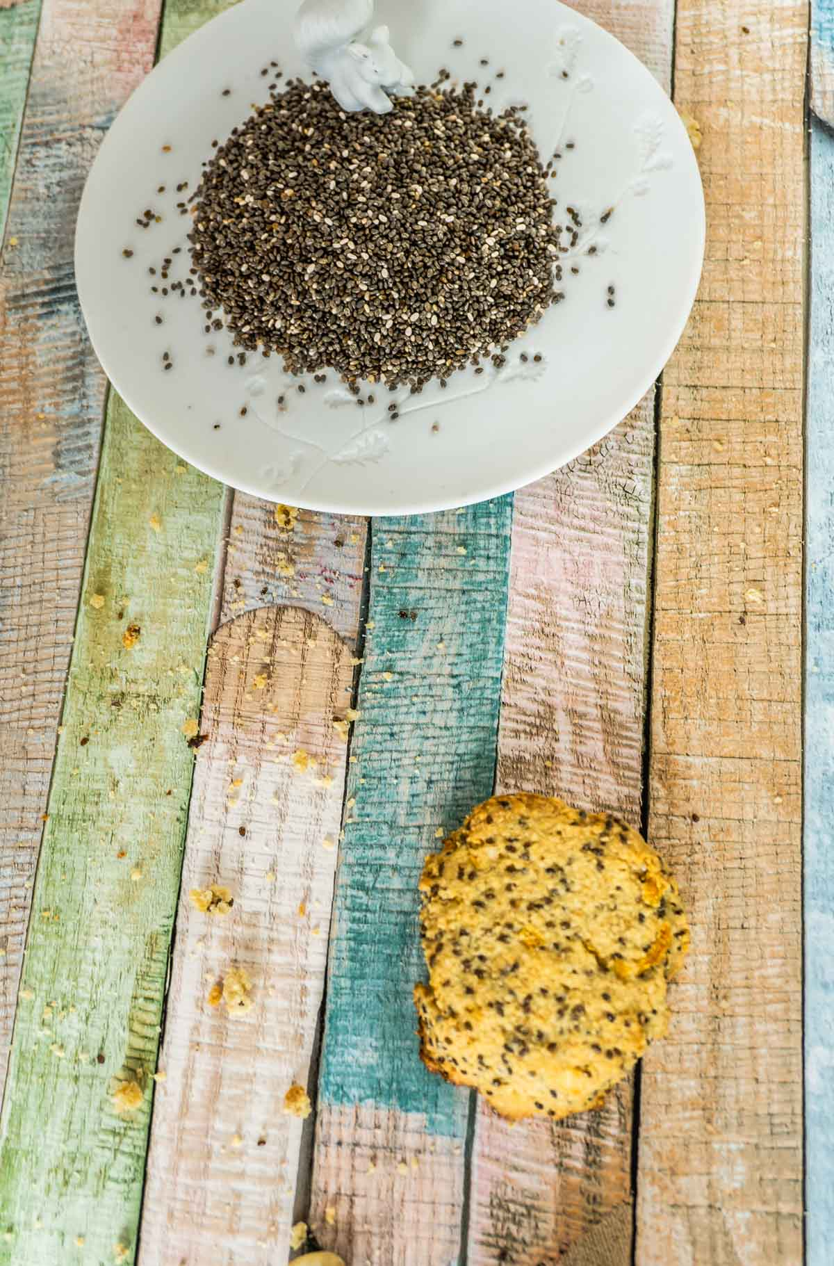 Lemon Chia Cookies with chia seeds on a plate