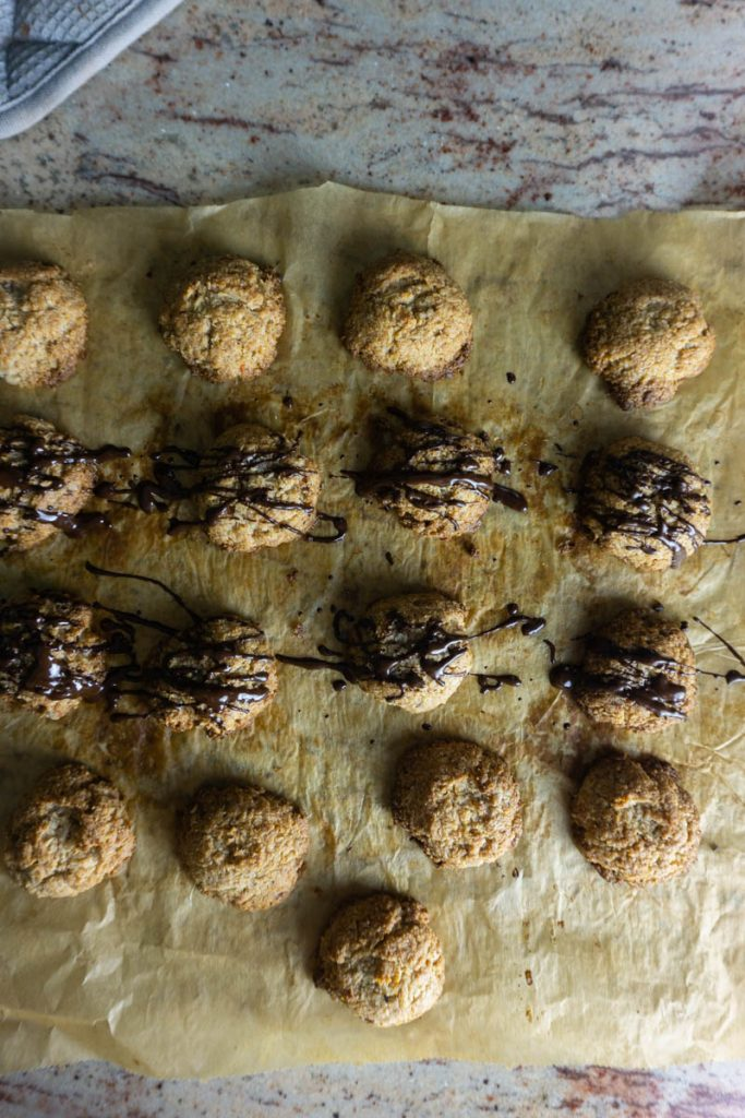 Orange chocolate macaroons tossed with chocolate