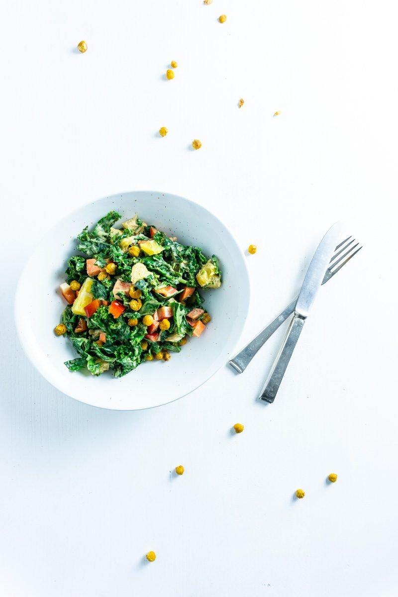 Creamy kale salad on a plate