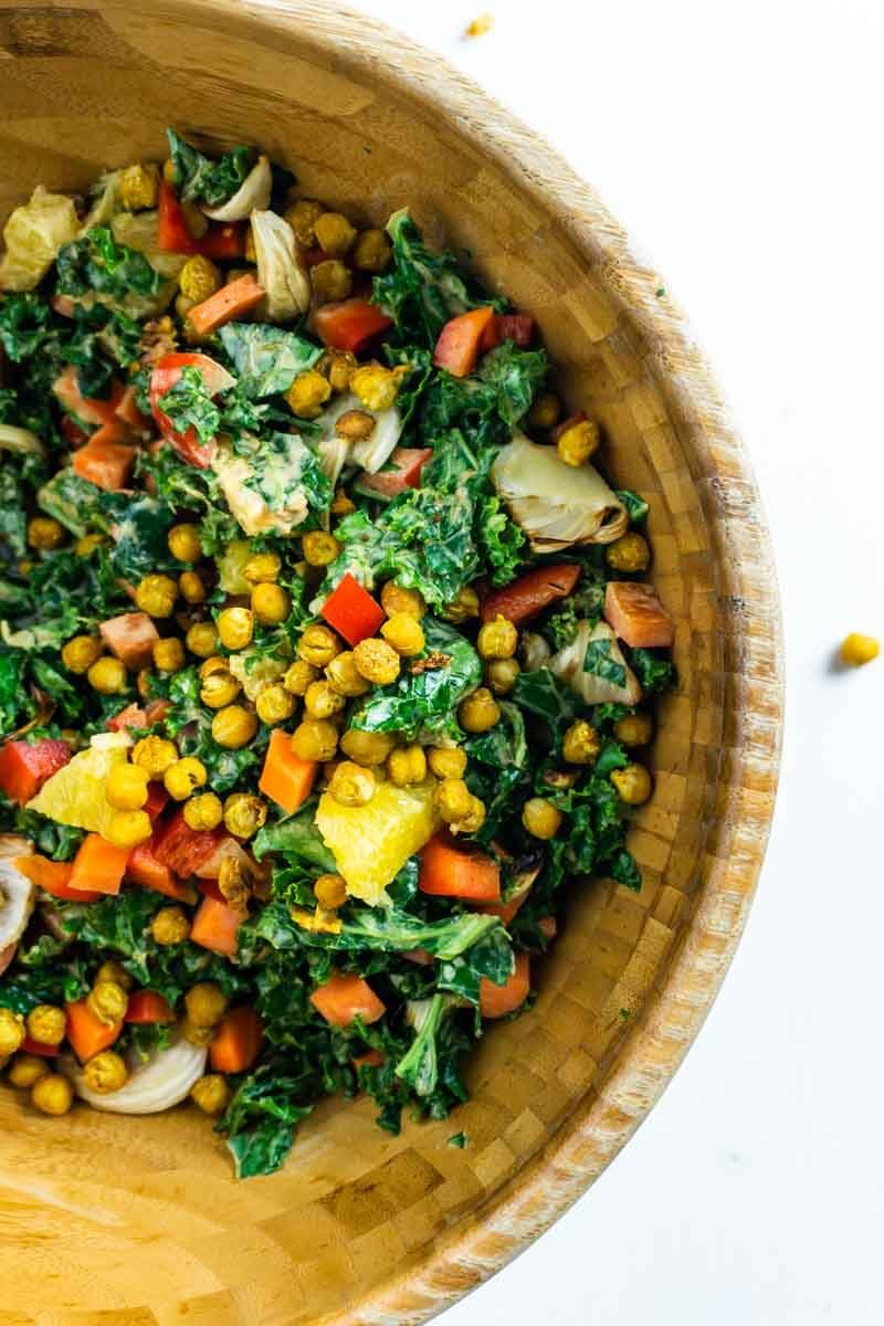 Close-up of creamy kale salad in a salad bowl