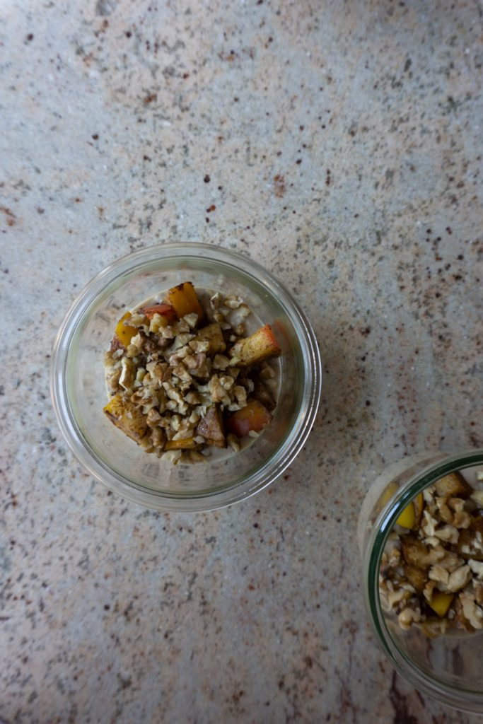 Adding walnuts to apples and overnight oats