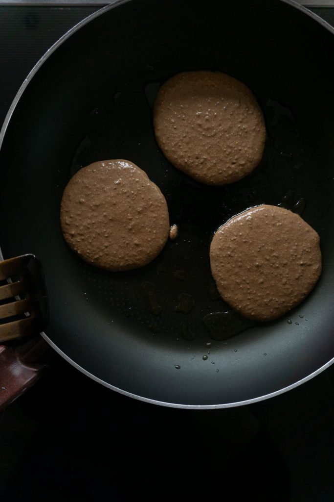 Pancake dough put in a pan