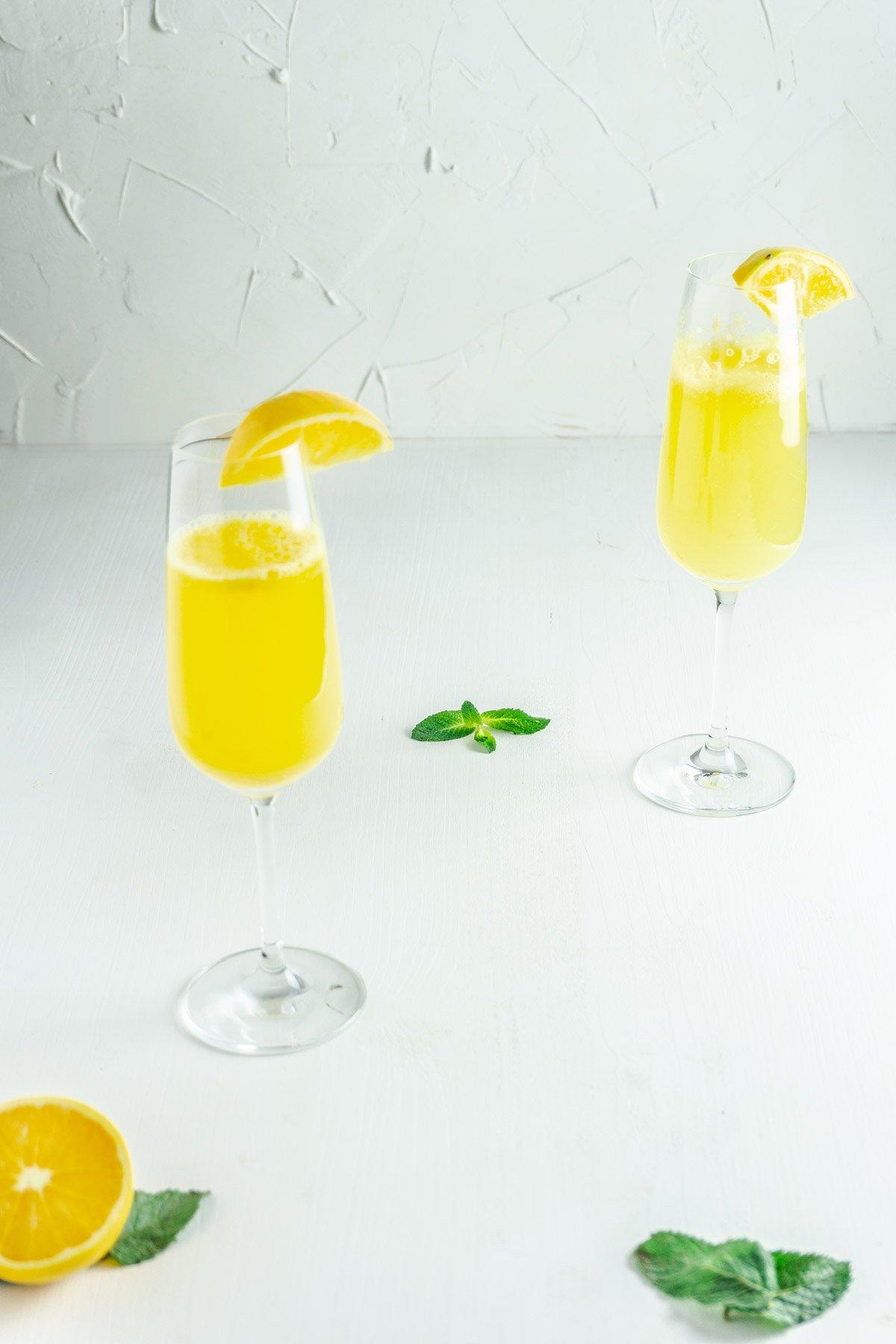 Ginger-Orange Mocktails on a white background