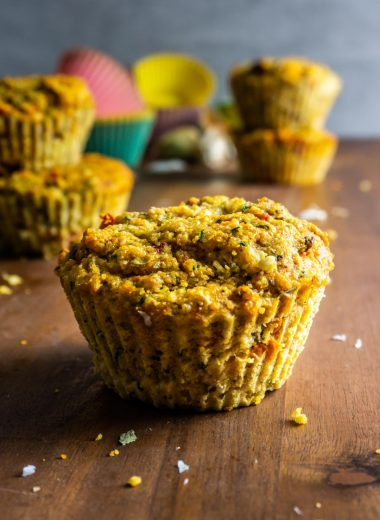 Savory Muffins on wooden board