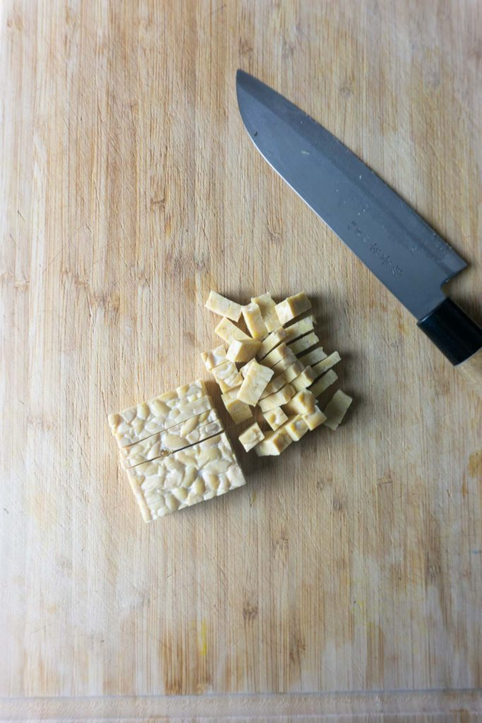 Finely cutting Tempeh