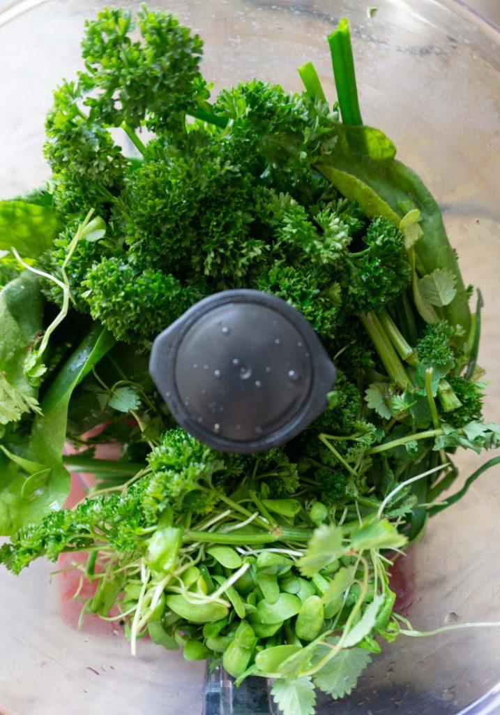 Frankfurter Green Sauce herbs in a food processor