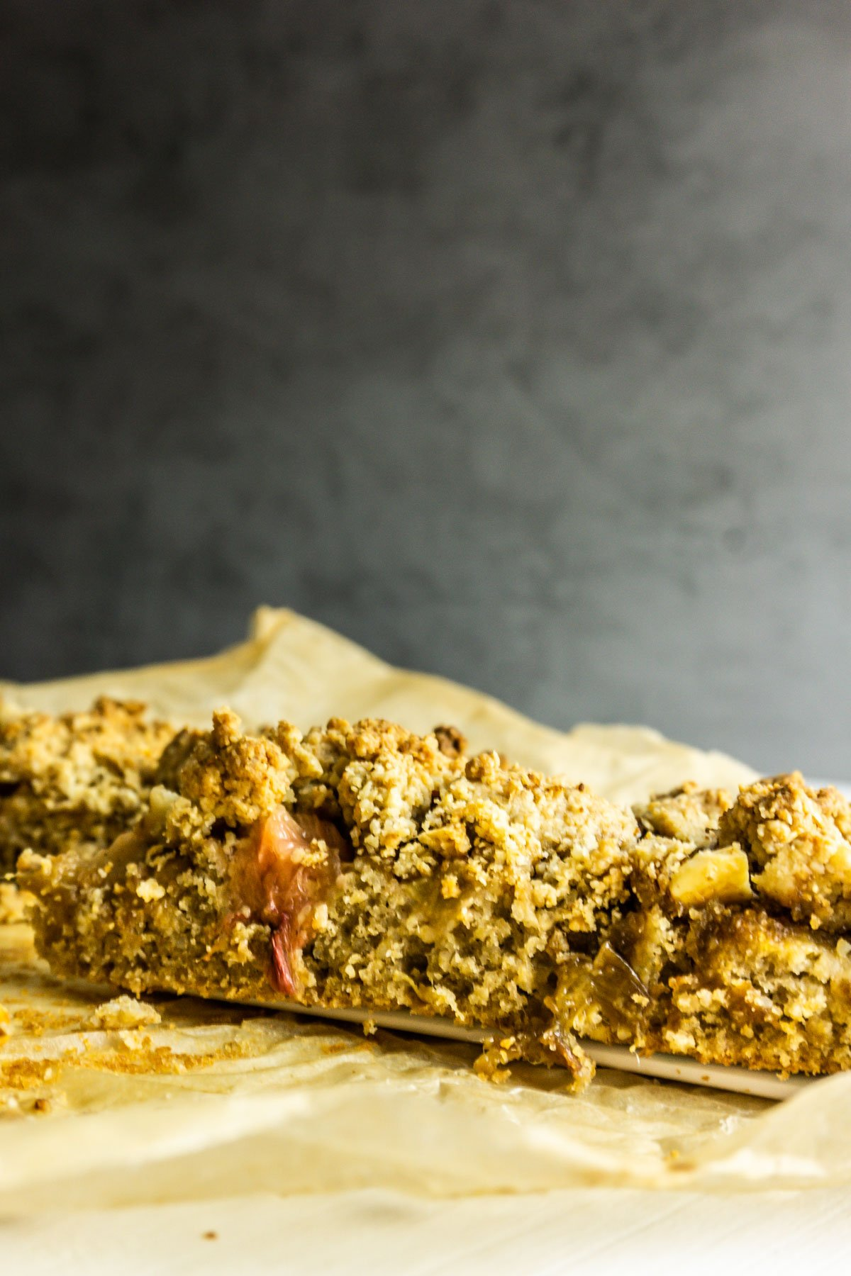 Rhubarb Streusel Cake on a white background