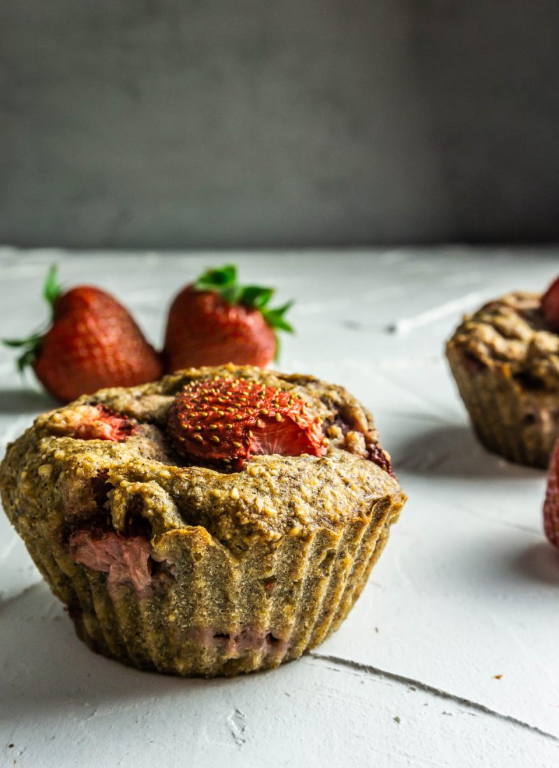 Strawberry Banana Muffins on a white background