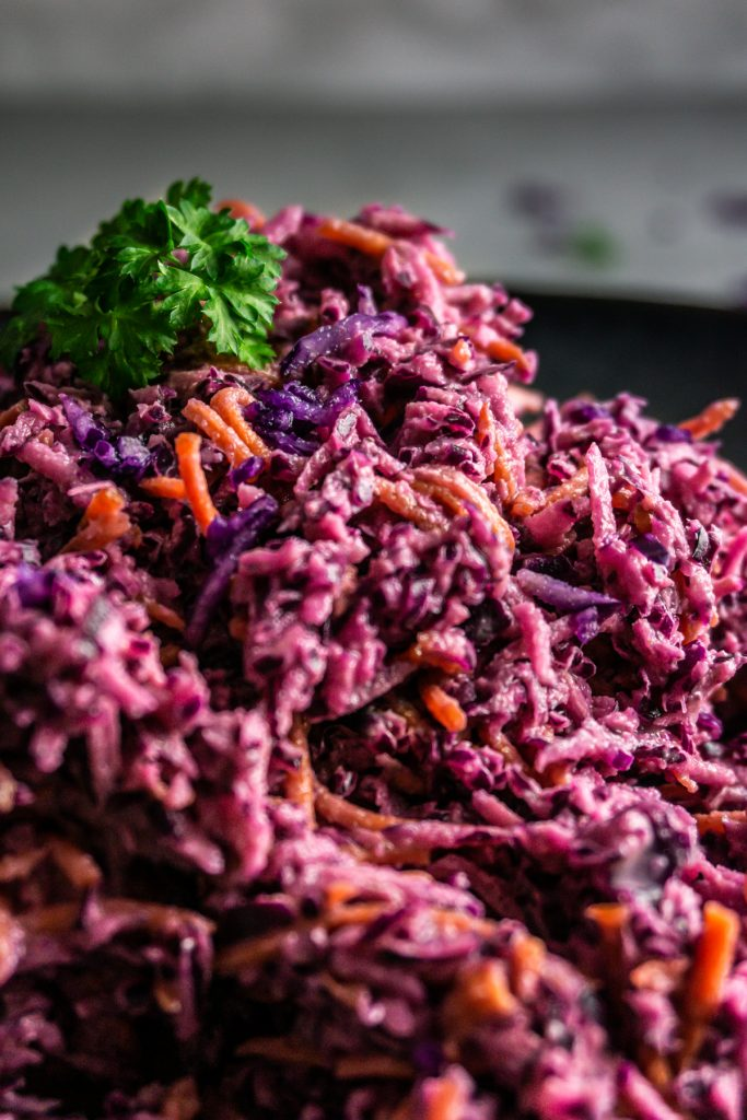Easy Purple Coleslaw photographed up close