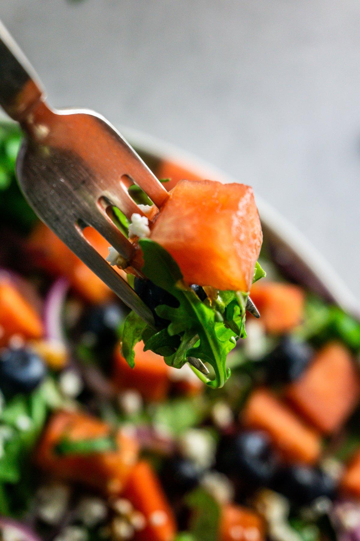 Watermelon Feta Salad on a fork
