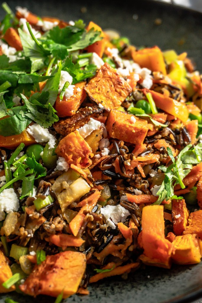 Wild Rice Salad with Roasted Butternut Squash photographed up close