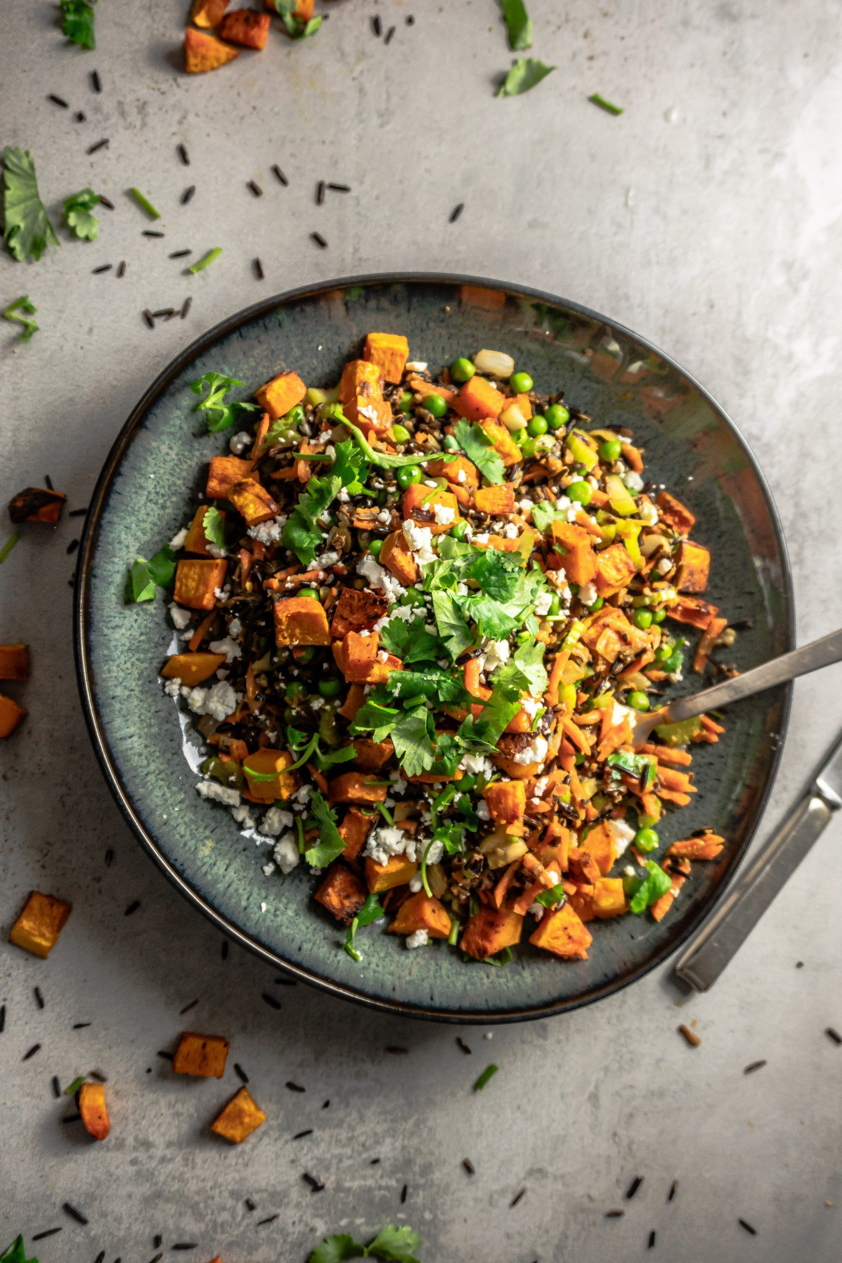 Wild Rice Salad with Roasted Butternut Squash on a plate with a fork stuck into it