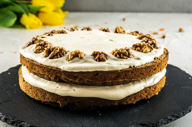 Gluten-free Carrot Cake with a Vegan Buttercream Frosting