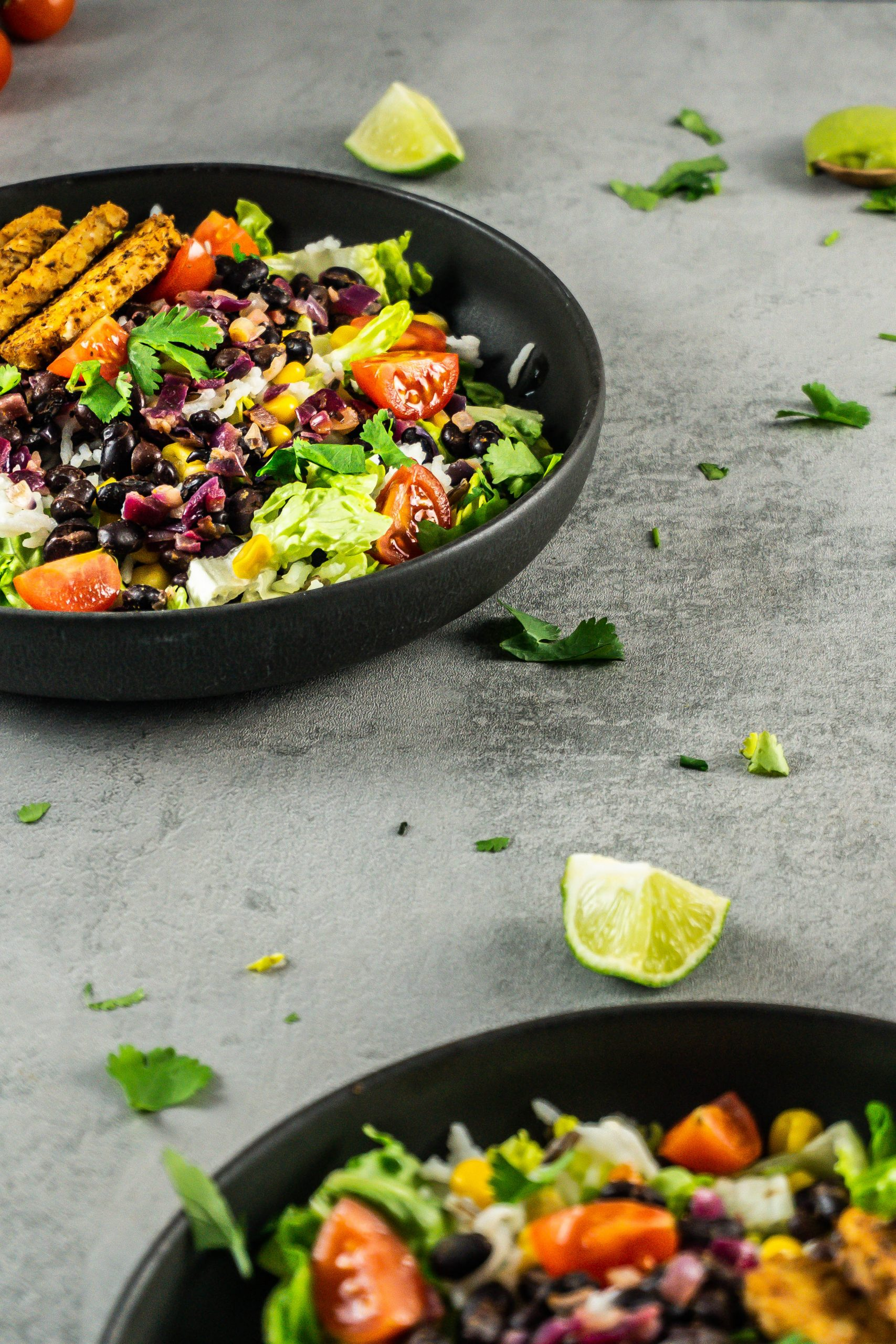 Two Vegan Burrito Bowls on a grey background with scattered lime pieces and cilantro around with the vegan burrito bowl being further away appearing in focus