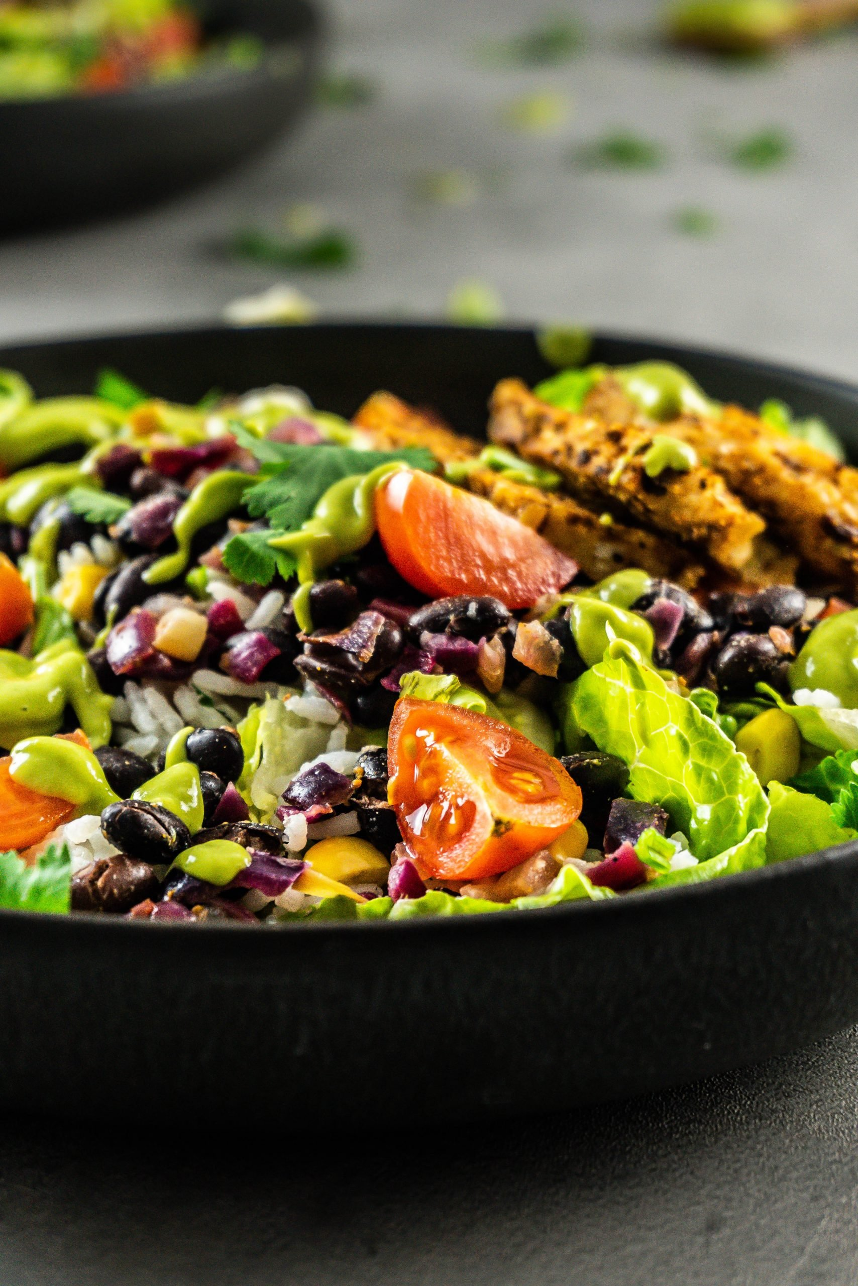 Vegan Burrito Bowl photographed up close with scatted Vegan Burrito Bowl sauce all over
