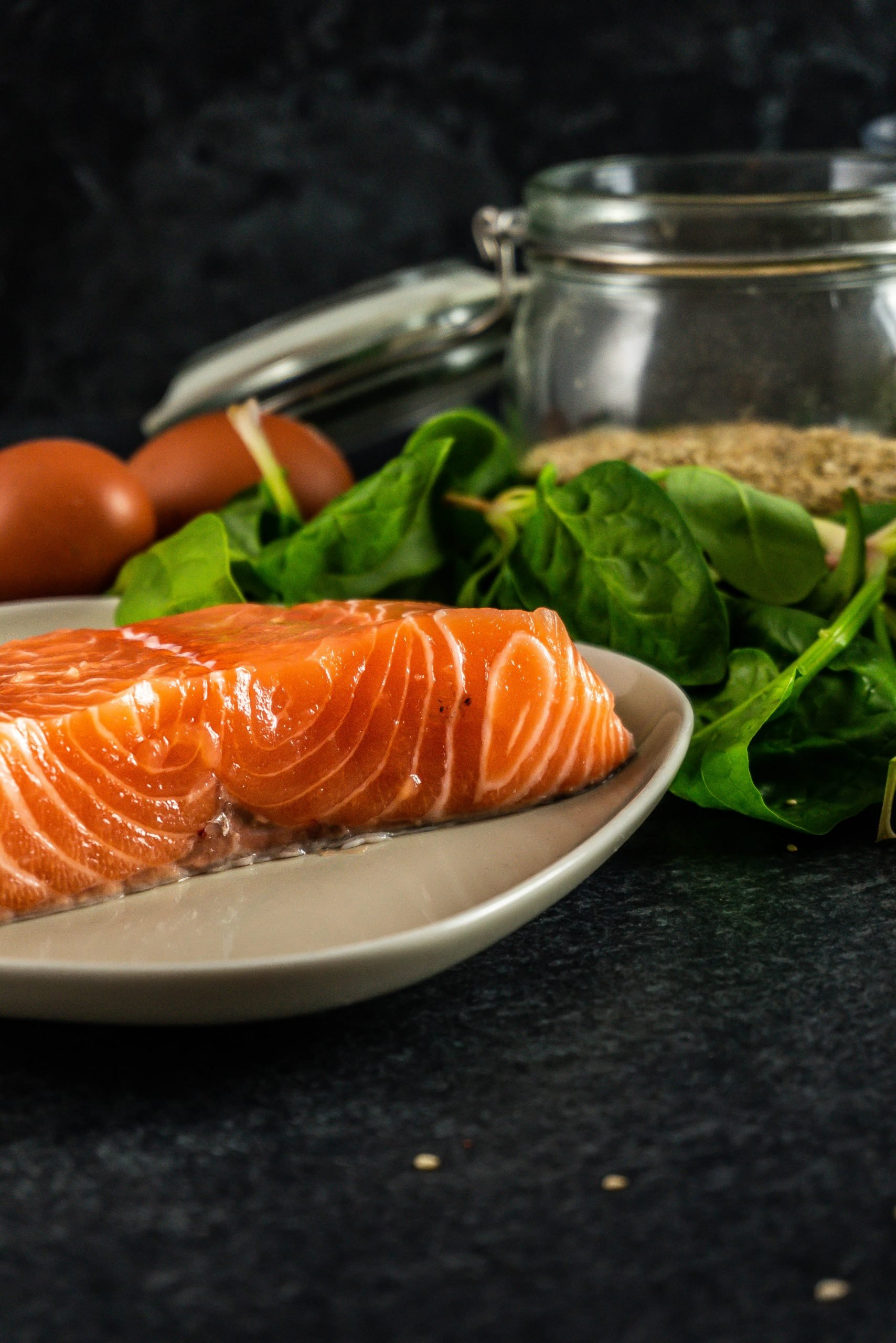 Wild-caught salmon on a plate