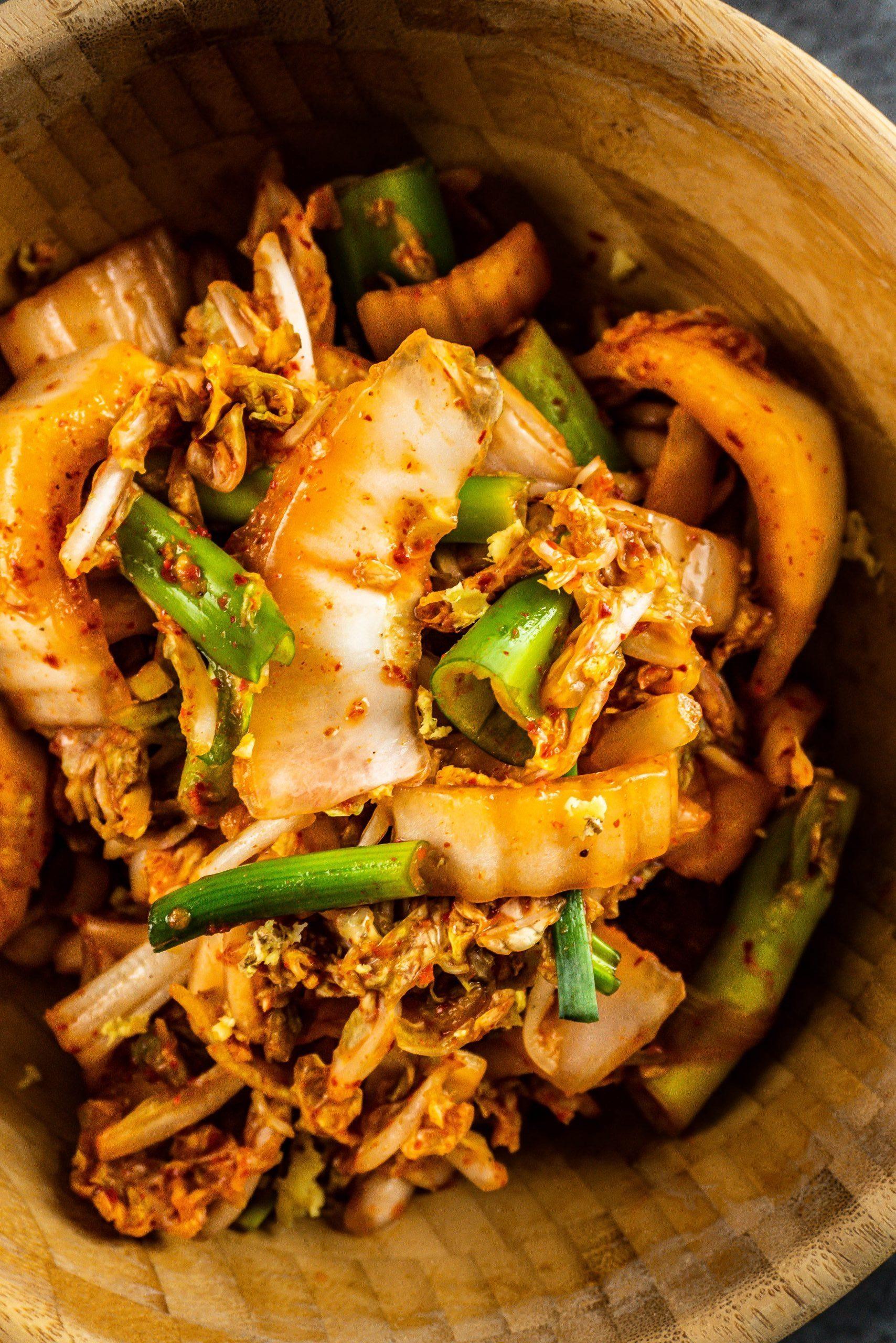Delicious Vegan Kimchi photographed up close