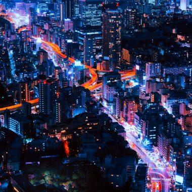 Cars driving through Tokyo city