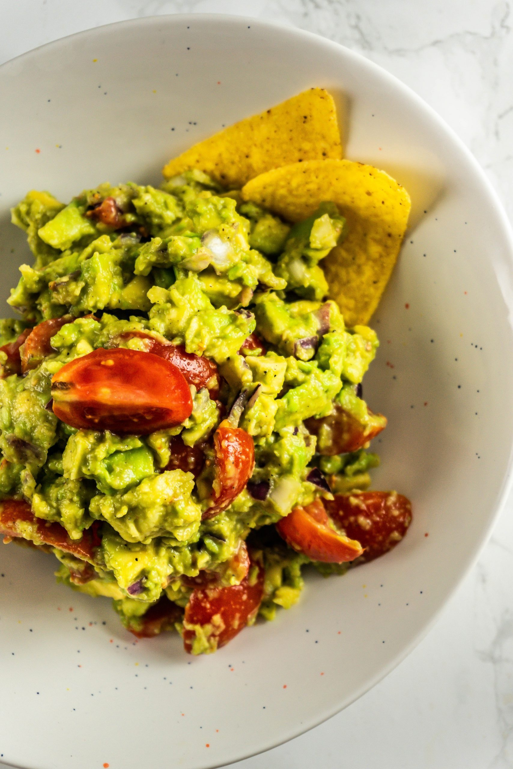 My Dear Friend's Best Guacamole photographed up close in a bowl from the top