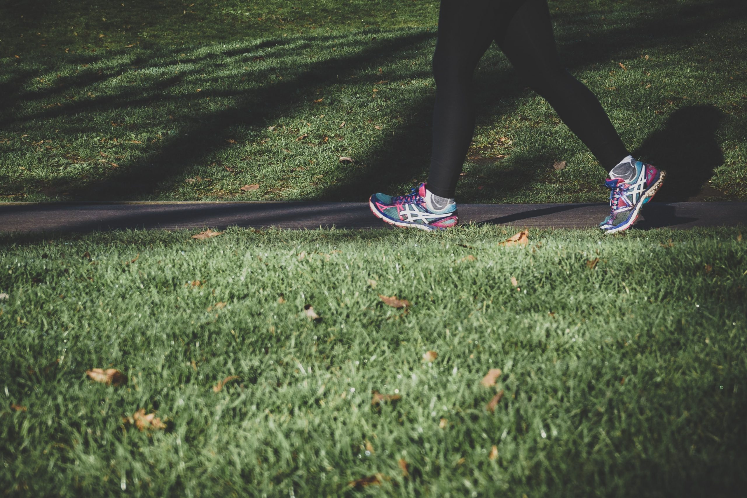 Jogging fees on a path through a park