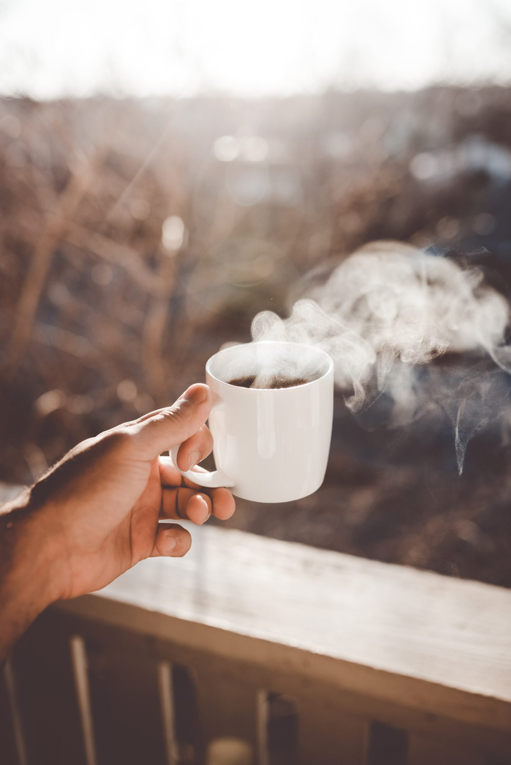 Coffee cup with steam coming out of it