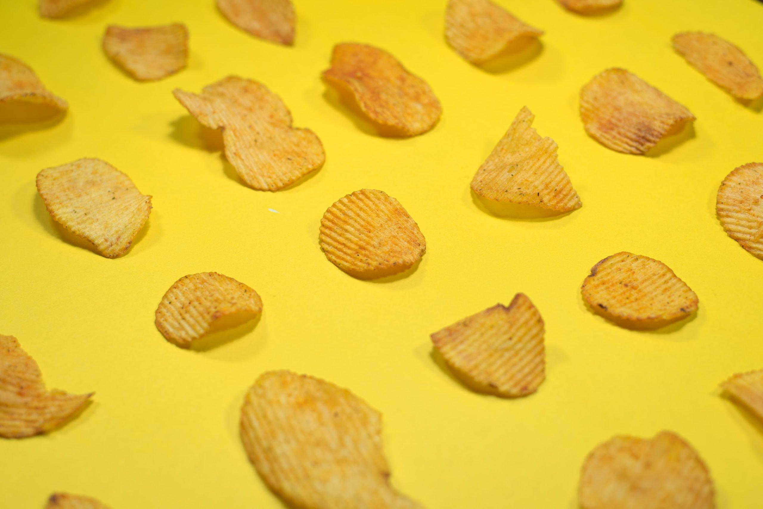 Potato chips on a yellow underground