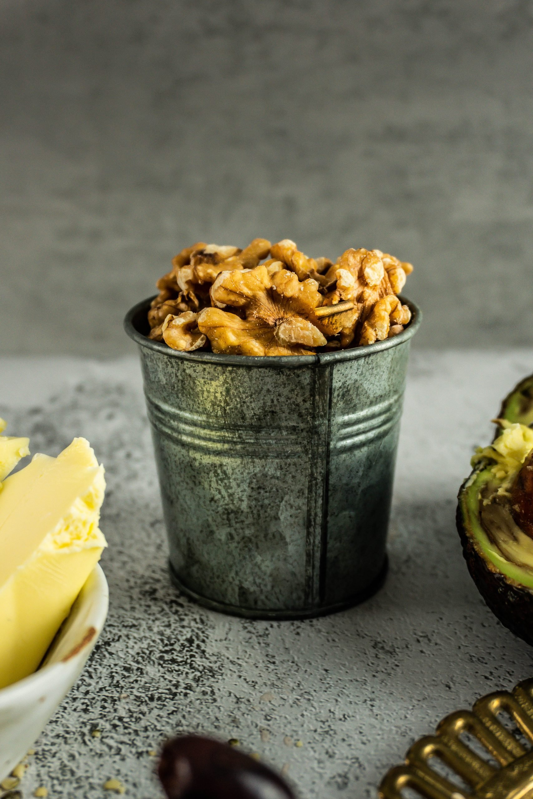 Walnuts packed in a small tin cup