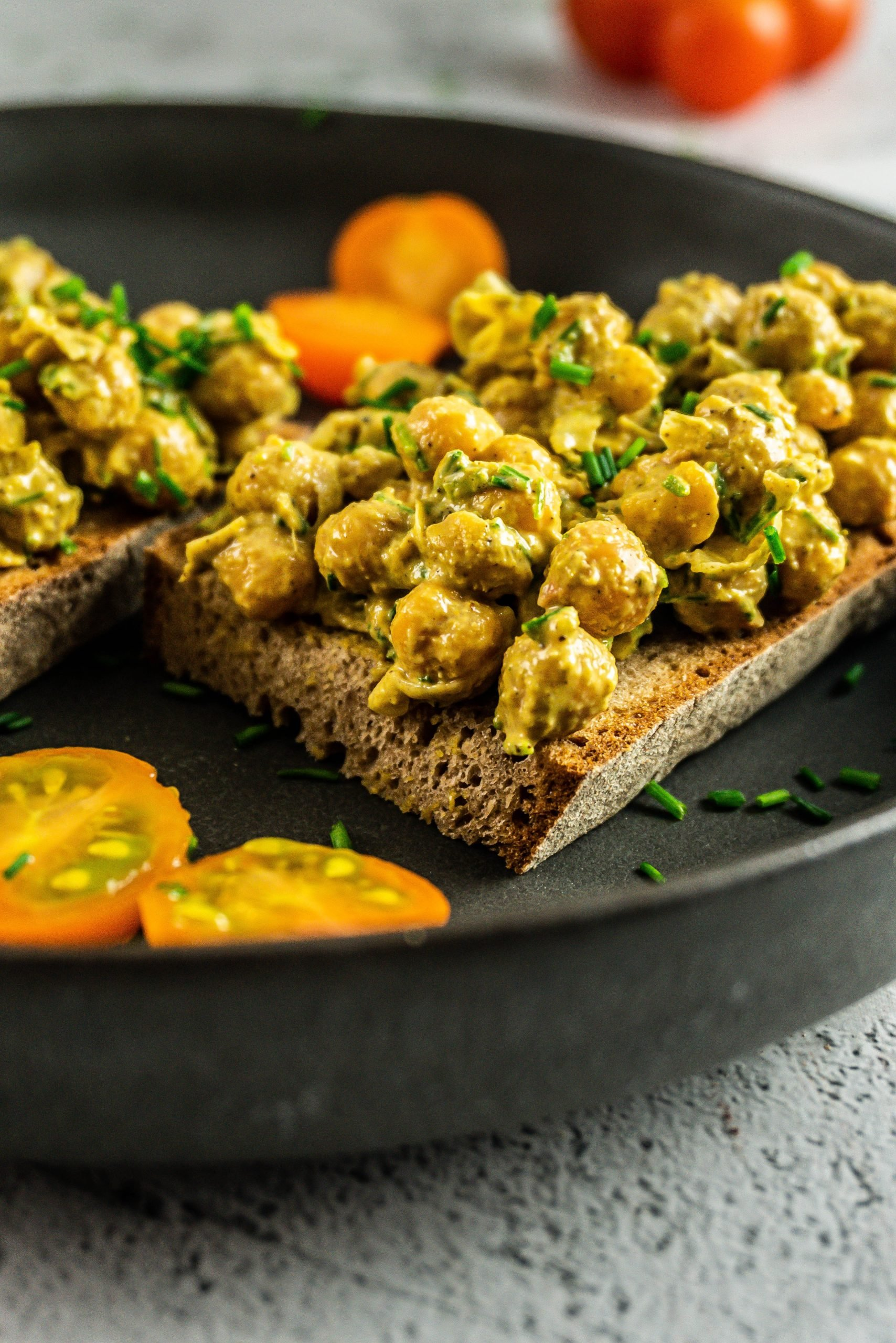 Vegan Curried Chickpea Spread photographed up close