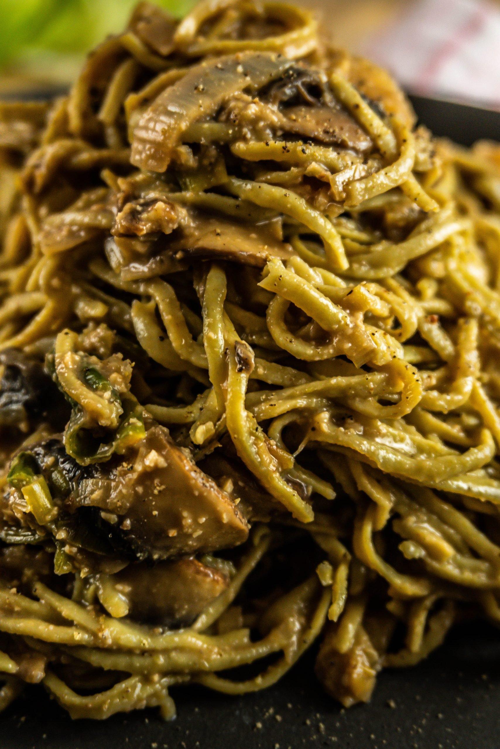 Creamy Mushroom and Leek Pasta photographed up close