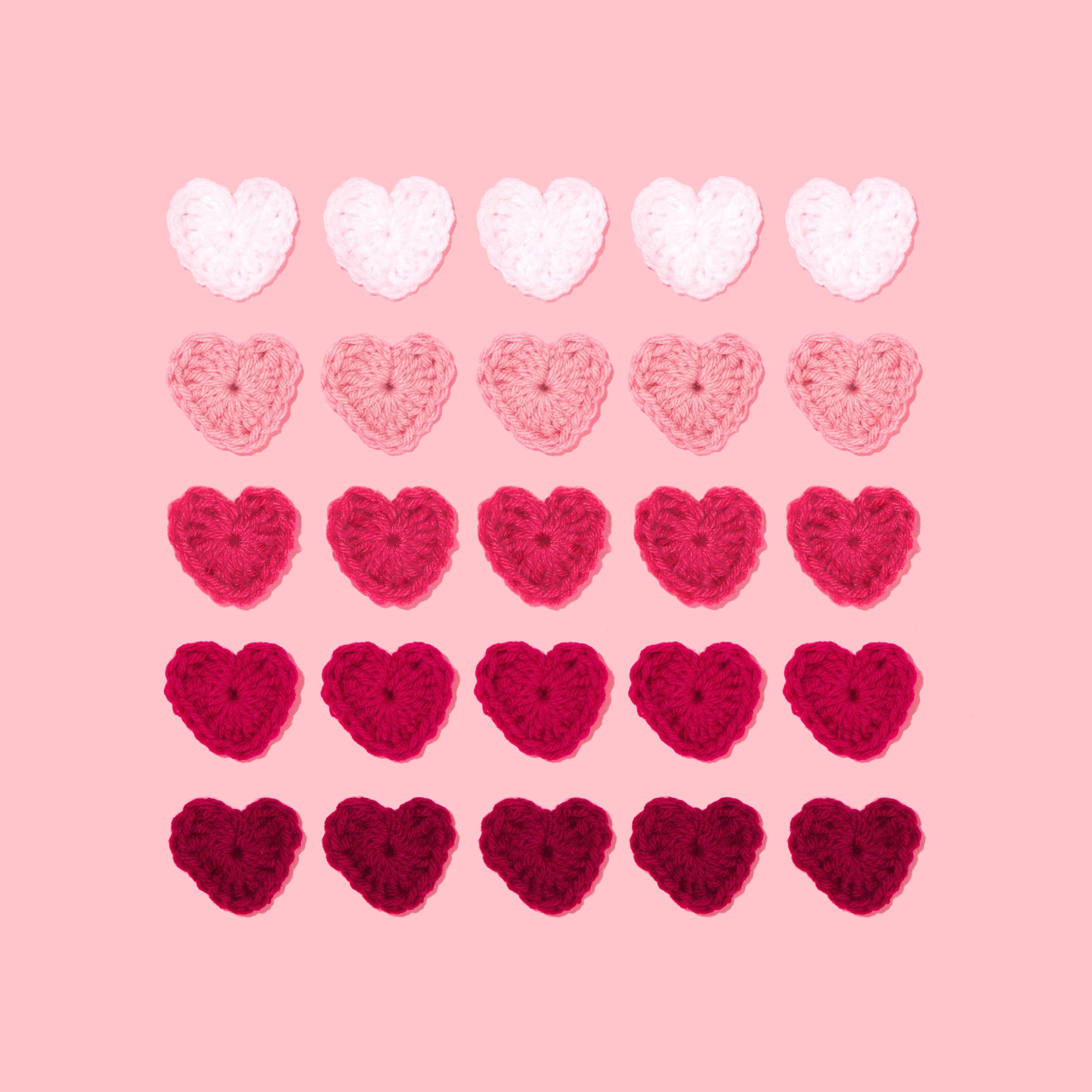 A selection of different kinds of pink hearts