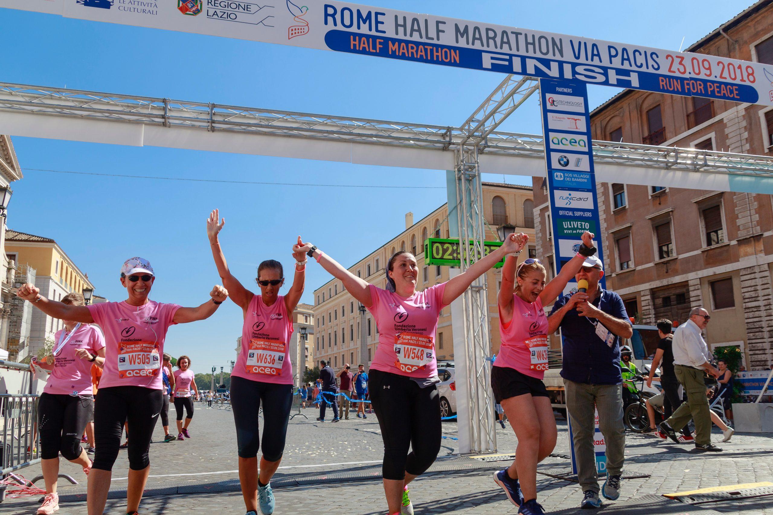 Women running Rome Marathon for Breast Cancer Awareness